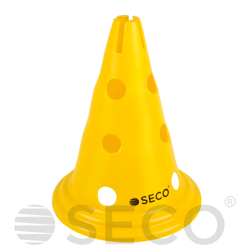 Yellow SECO® training cone with holes 30 cm
